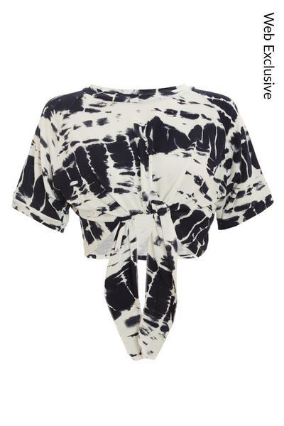 Black & White Tie Dye Crop Top